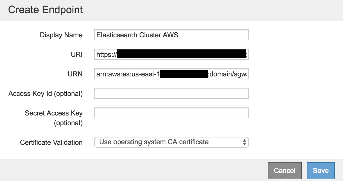Configure Elasticsearch endpoint for metadata search